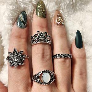 Fashion Rings Boho Lotus and Gem Set of 5